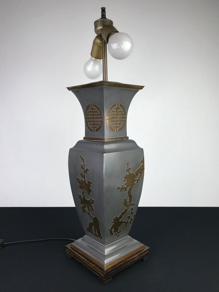 Mid-Century Modern Asian Style Table Lamp, Metal with Brass, 1950s For Sale