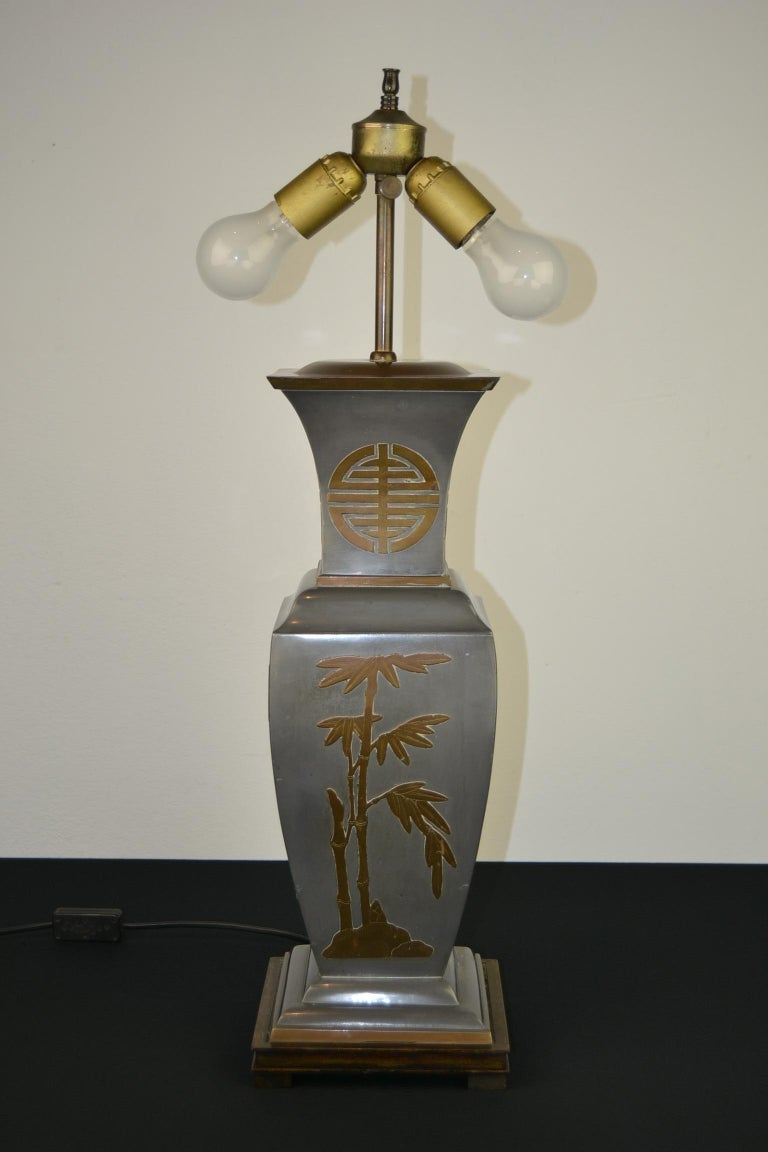 20th Century Asian Style Table Lamp, Metal with Brass, 1950s For Sale