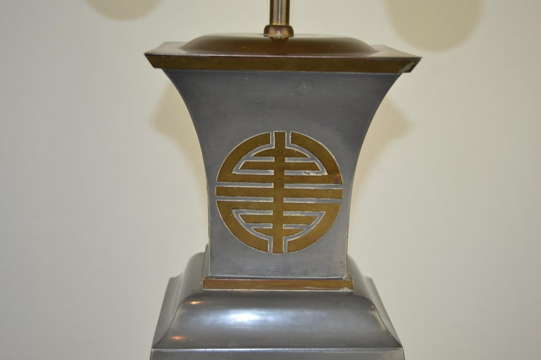 Asian Style Table Lamp, Metal with Brass, 1950s For Sale 1