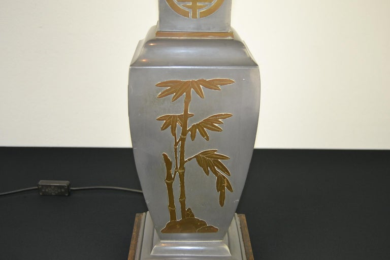 Asian Style Table Lamp, Metal with Brass, 1950s For Sale 2