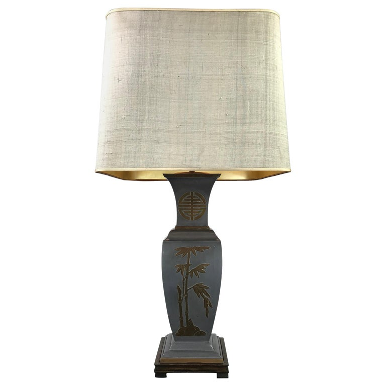 Asian Style Table Lamp, Metal with Brass, 1950s For Sale