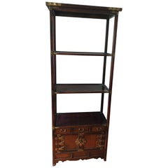 Asian Style Wood and Brass Étagère Bookshelf