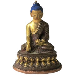 Asian Thai Gold Gilt Bronze Buddha Sculpture, circa 19th Century