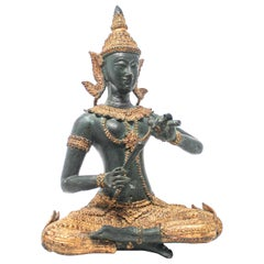 Asian Thai Gilt Bronze of an Angel Buddha Playing Music