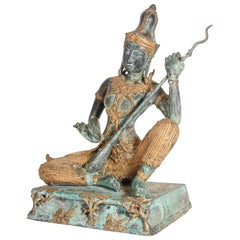 Asian Thai Gilt Vintage Bronze Statue of a Prince Playing Music