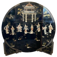 Asian Round Coromandel Black Laquer Screen Room Divider