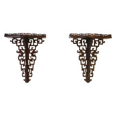 Chinoiserie Wall Brackets Shelves for Vases Decorative Objects Sculpture, Pair