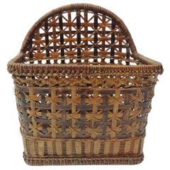 Asian Wall Hanging Wicker Basket