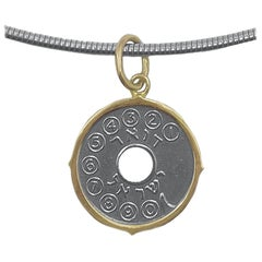 Asimon Phone Token Pendant Set in Gold on Steel Chain with Gold Hardware