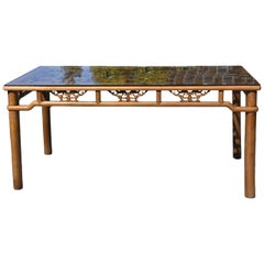 Asisn Dining Table Seats 6 with Antique Screen