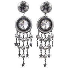 Askew Large Silver Tone Stars and Rhinestones Chandelier Clip On Earrings 1980s