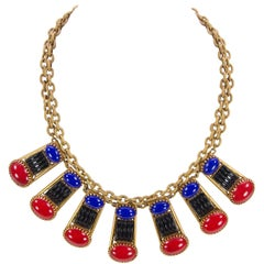 Askew London Faux Multi Gemstone Collar Statement Necklace