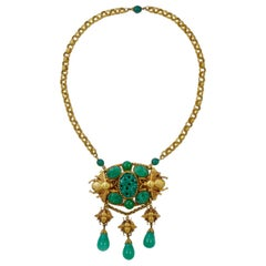 Askew London Gold Plated and Green Peking Glass Textured Bee Design Necklace