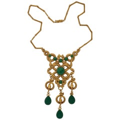 Askew London Gold Plated and Green Peking Glass Textured Snakes Design Necklace