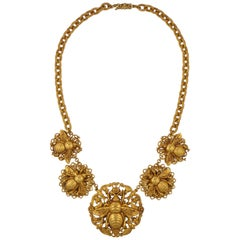 Askew London Gold Plated Filigree Bee Statement Necklace