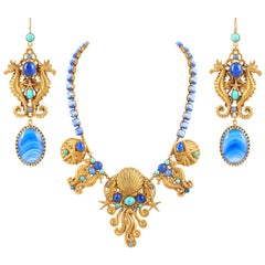 ASKEW LONDON Gold Sea Life Multi-Stone Bib Necklace Drop Earring Parure Set