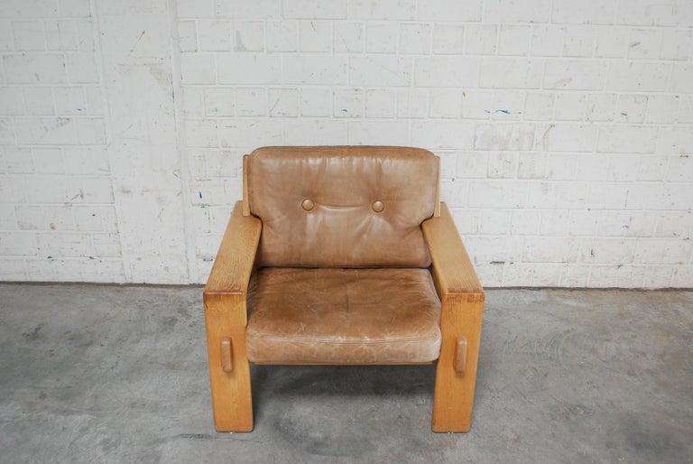 Scandinavian Modern Asko Bonanza Armchair Brown Caramel Leather Chair Design Esko Pajamies