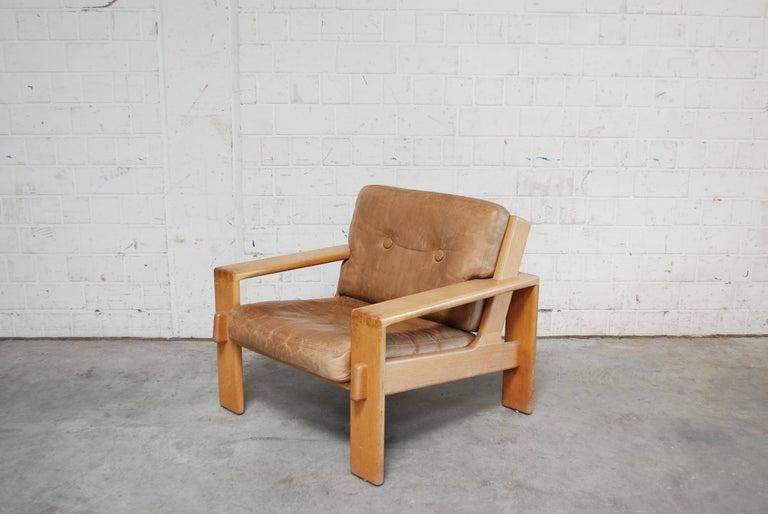 Finnish Asko Bonanza Armchair Brown Caramel Leather Chair Design Esko Pajamies