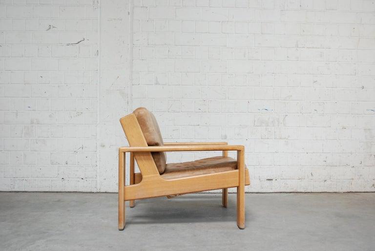 Mid-20th Century Asko Bonanza Armchair Brown Caramel Leather Chair Design Esko Pajamies