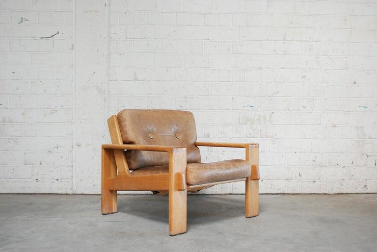 Oak Asko Bonanza Armchair Brown Caramel Leather Chair Design Esko Pajamies