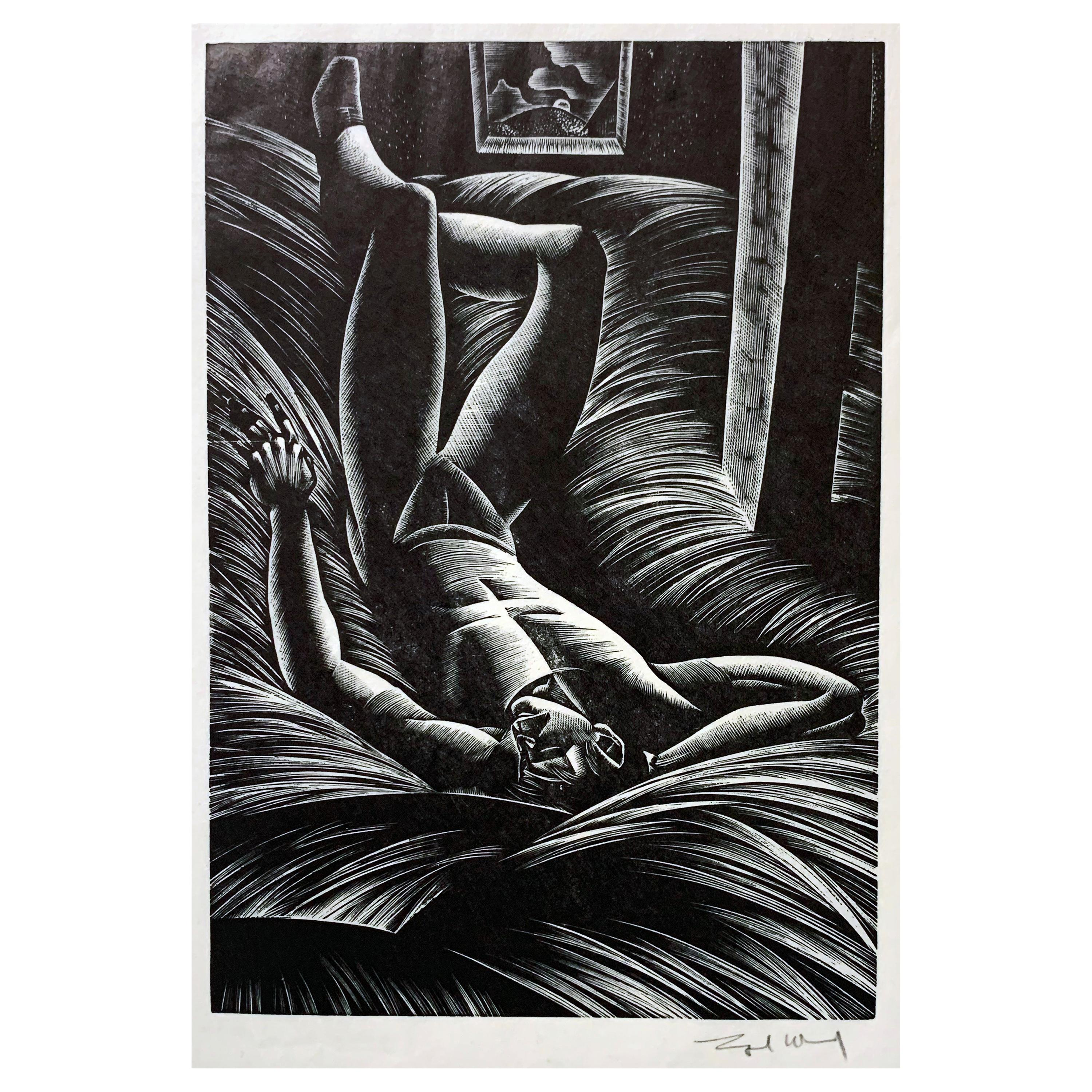 """Asleep in the Hay,"" Art Deco Print with Half-Nude Male by Lynd Ward, 1932"
