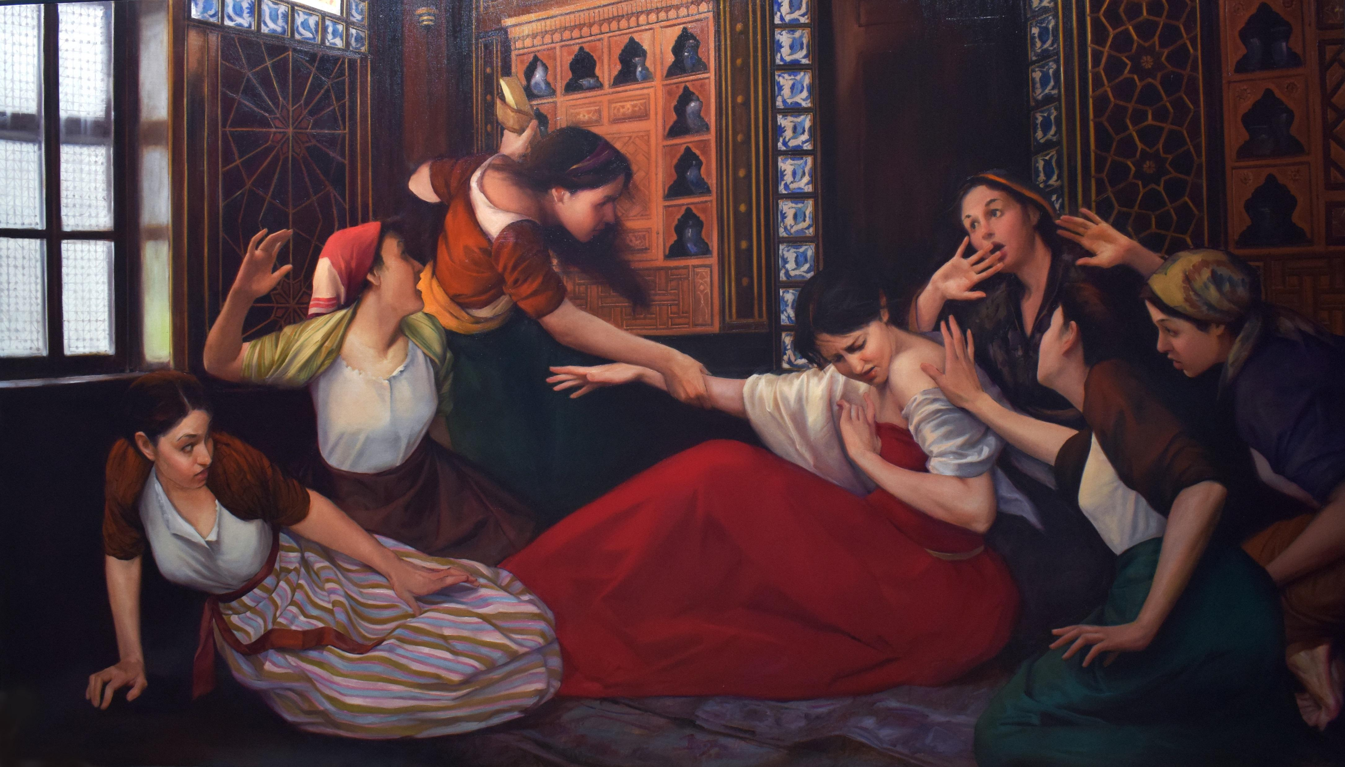 """""""The Murder of Shajar al-Durr"""" oil painting 57"""" x 89"""" inch by Asmaa Khoury"""