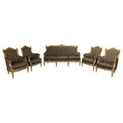 Asnaghi Baroque Rococo Fauteuil Sofa & 4 Armchair Suite in Stripe Silk and Gilt