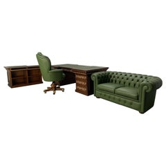 Asnaghi Desk, Armchair, Chesterfield Sofa and Bookcase Home Office Suite