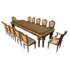 "Asnaghi ""Eubea"" Dining Table and 12 Chair Suite in Harwood, Gilt and Silk"