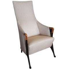 Asnago White Fabric Beechwood Italian Bergere Chair with Black Lacquered Legs