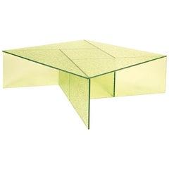 Aspa Table Big, European, Minimalist, Yellow, Glass, 20th Century
