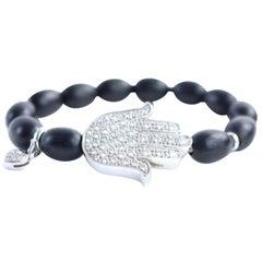 Aspery & Guldag Black 14k Hamsa X Heart Bead Bracelet 12mr0312