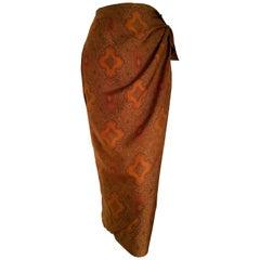 "ASPESI ""New"" Brown Tone Designs Silk Wrap Skirt - Unworn"