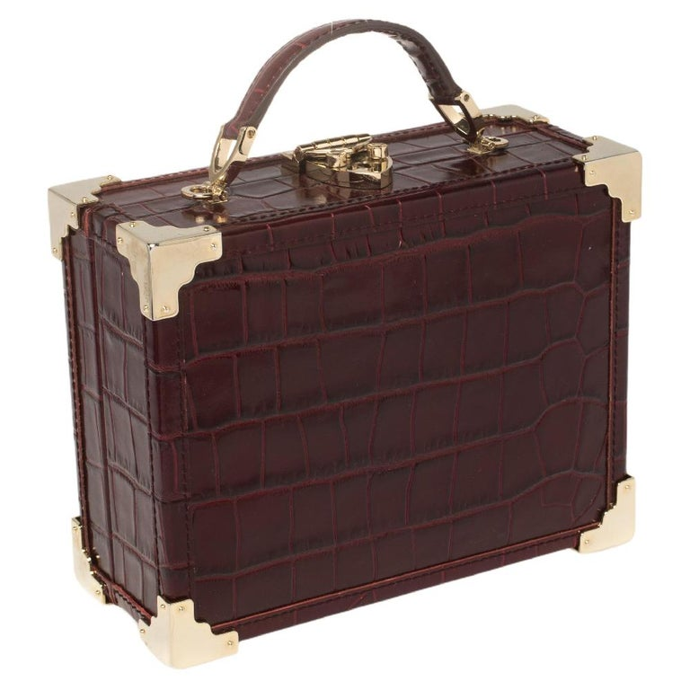 Black Aspinal Of London Burgundy Croc Embossed Leather Trunk Top Handle Bag For Sale