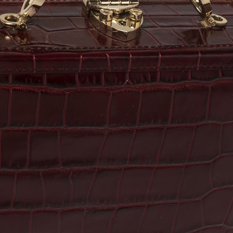 Women's Aspinal Of London Burgundy Croc Embossed Leather Trunk Top Handle Bag For Sale