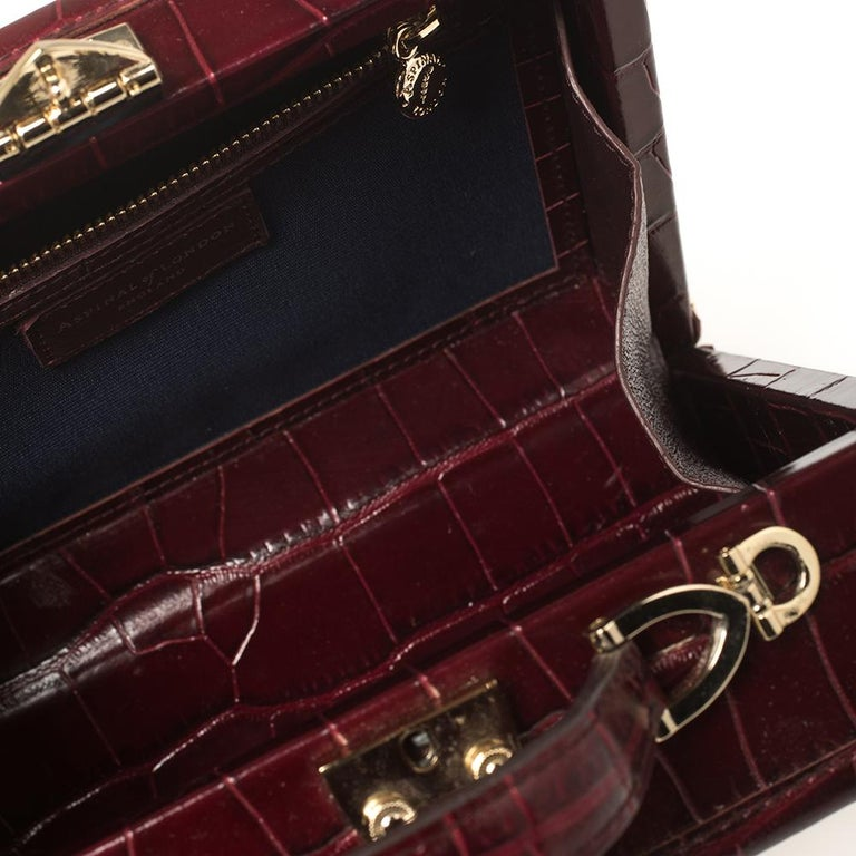 Aspinal Of London Burgundy Croc Embossed Leather Trunk Top Handle Bag For Sale 2