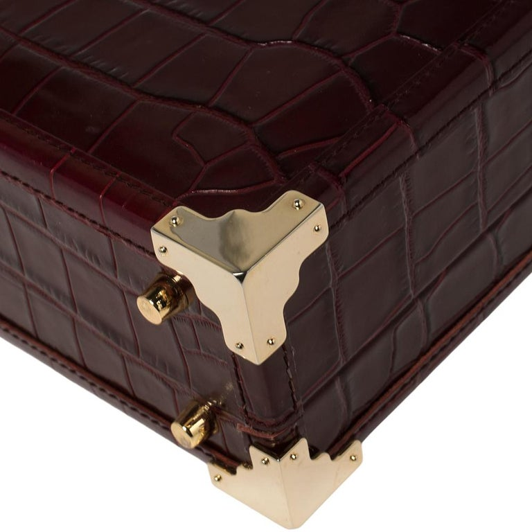 Aspinal Of London Burgundy Croc Embossed Leather Trunk Top Handle Bag For Sale 3