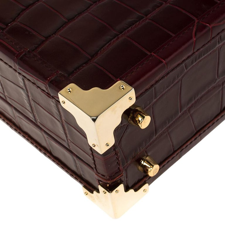 Aspinal Of London Burgundy Croc Embossed Leather Trunk Top Handle Bag For Sale 4