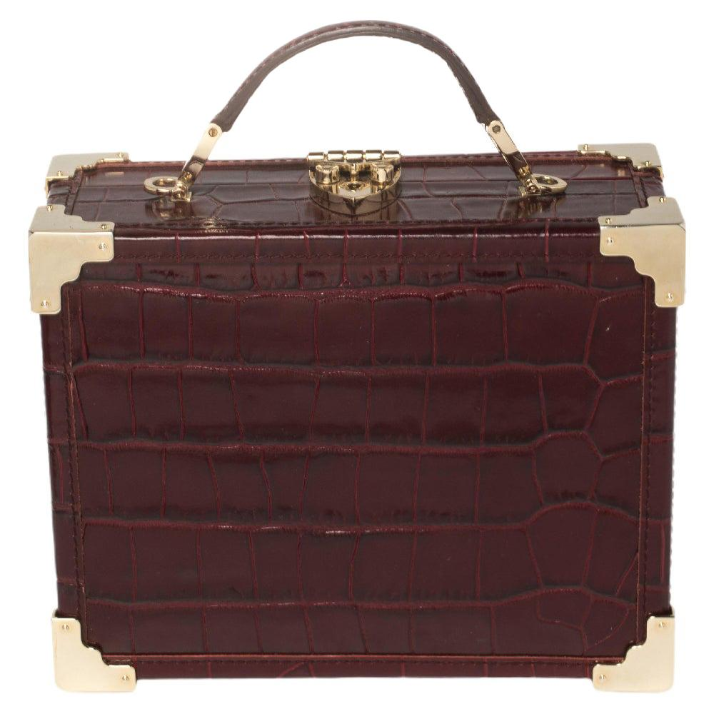 Aspinal Of London Burgundy Croc Embossed Leather Trunk Top Handle Bag