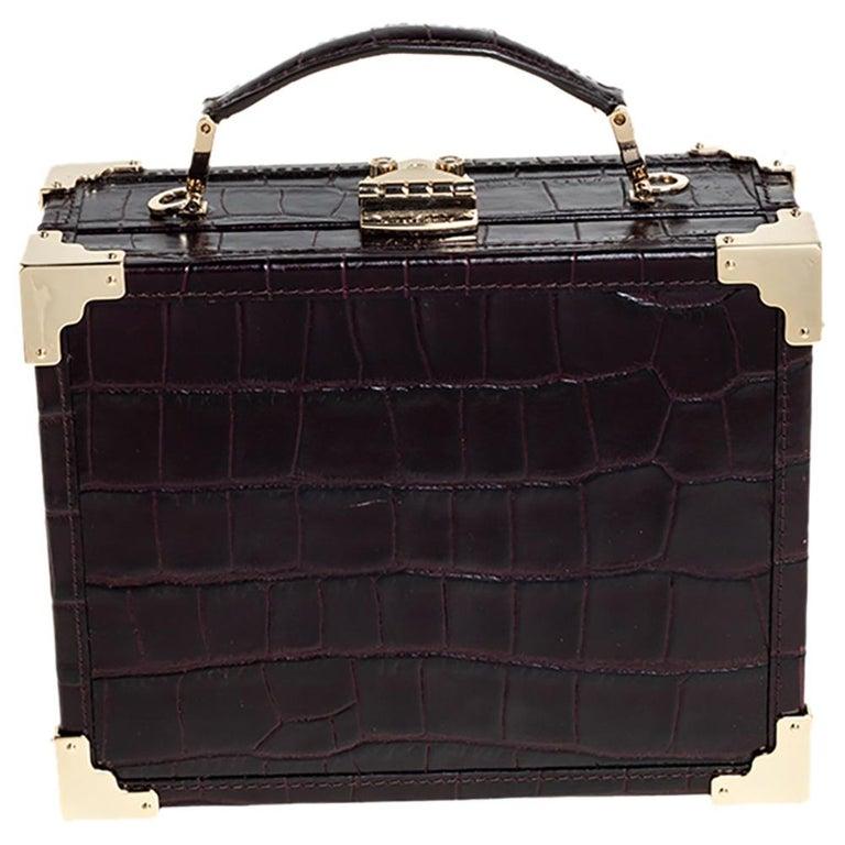 Black Aspinal Of London BurgundyCroc Embossed Leather Trunk Top Handle Bag For Sale