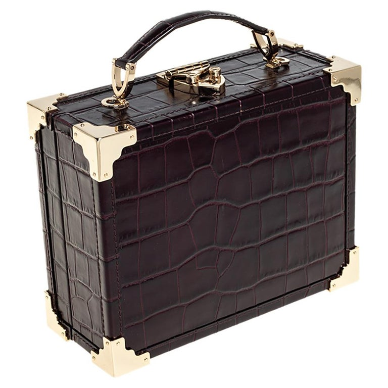 Aspinal Of London BurgundyCroc Embossed Leather Trunk Top Handle Bag In Good Condition For Sale In Dubai, Al Qouz 2