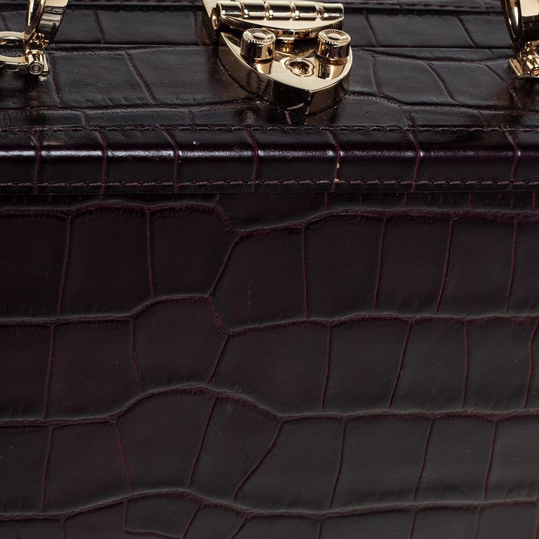 Aspinal Of London BurgundyCroc Embossed Leather Trunk Top Handle Bag For Sale 2