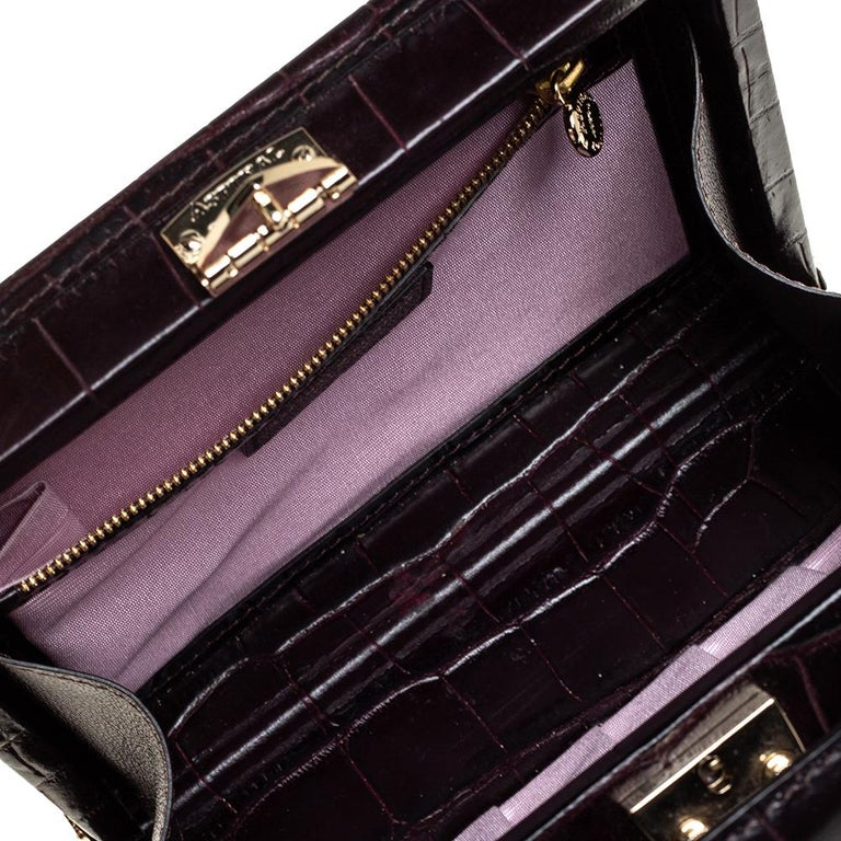 Aspinal Of London BurgundyCroc Embossed Leather Trunk Top Handle Bag For Sale 4