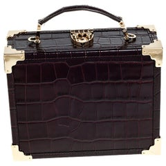 Aspinal Of London BurgundyCroc Embossed Leather Trunk Top Handle Bag