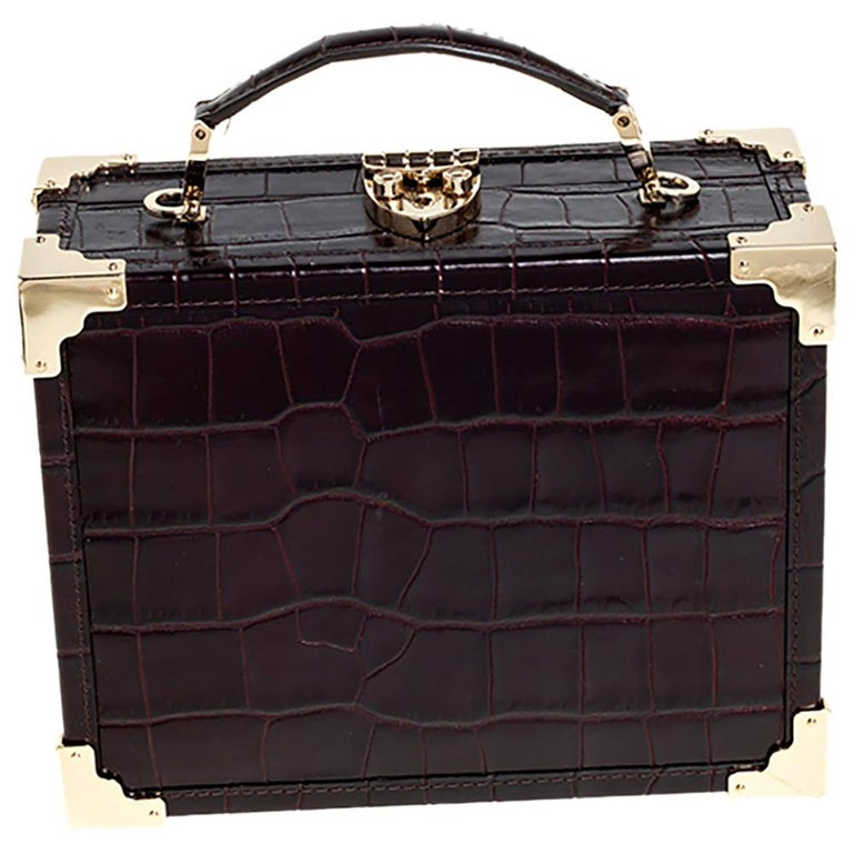 Aspinal Of London BurgundyCroc Embossed Leather Trunk Top Handle Bag For Sale