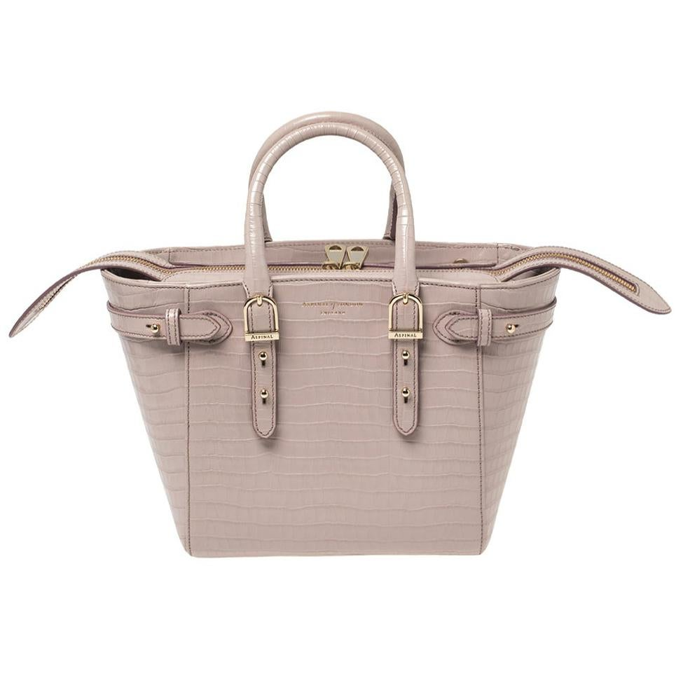 Aspinal of London Lilac Croc Embossed Leather Marylebone Tote
