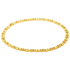 Asprey 18 Karat Yellow Gold and Diamond Chain Link Necklace