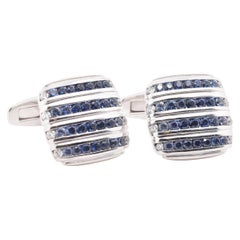 Asprey 18 Karat White Gold Sapphire and Diamond Cufflinks