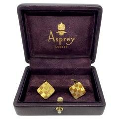 Asprey 18k Yellow Gold Checkerboard Design Cufflinks
