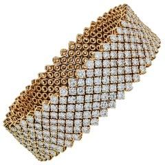 Asprey 27 Carat 18 Karat Yellow Gold Flexible Round Cut Diamond Bracelet